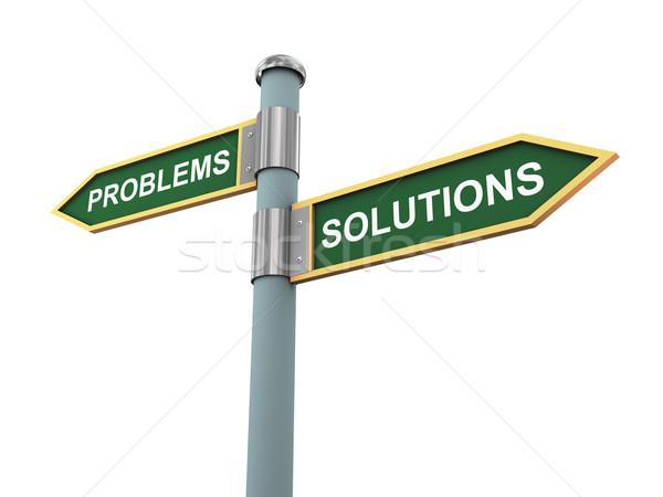 Problémák megoldások 3d illusztráció jelzőtáblák szavak felirat Stock fotó © ribah