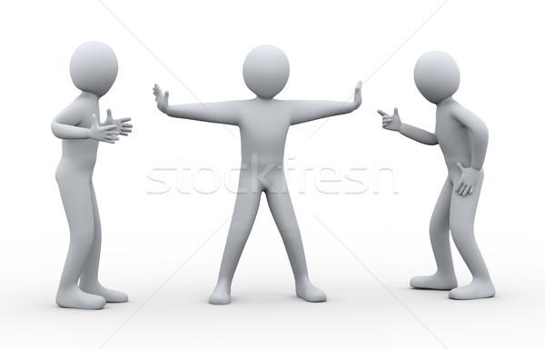 3d man between fighting people Stock photo © ribah