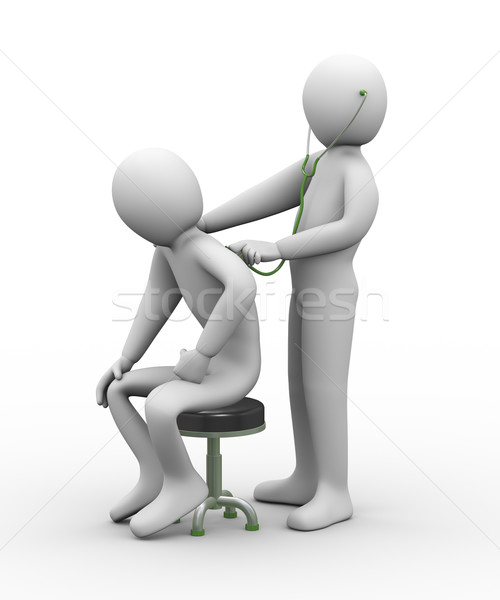 3d doctor examining patient with stethoscope  Stock photo © ribah