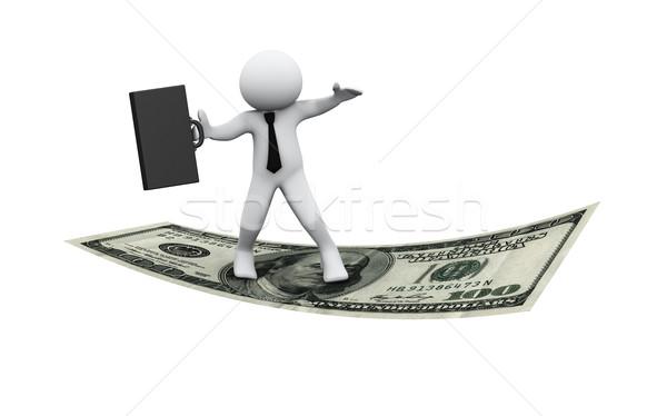 Foto stock: 3D · empresario · vuelo · dólar · 3d · hombre