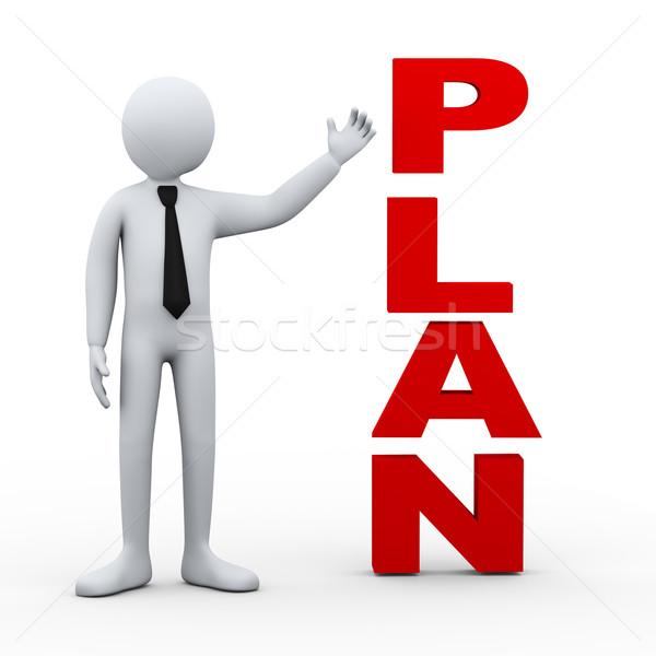 3d man plan word presentation Stock photo © ribah