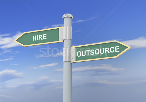 3d hire outsource road sign Stock photo © ribah