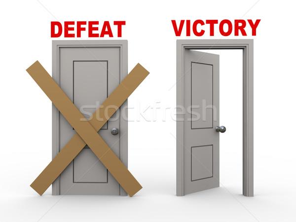 3D derrotar victoria puertas 3d cerrado Foto stock © ribah