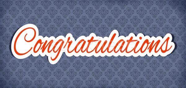 Gefeliciteerd sticker illustratie woord felicitatie achtergrond Stockfoto © ribah