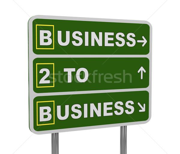 3D zielone znak drogowy b2b 3d ilustracji Zdjęcia stock © ribah