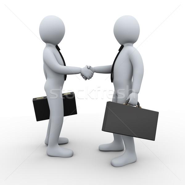 3d emberek együttműködés üzlet 3d illusztráció üzletember kézfogás Stock fotó © ribah