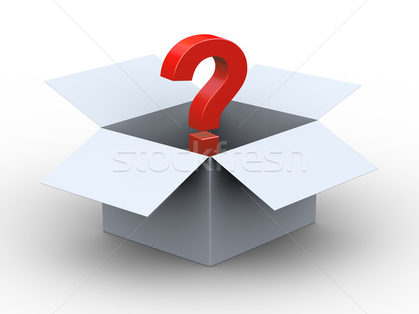 3d open box and question mark Stock photo © ribah