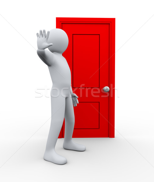 3d man in front of door to stop  Stock photo © ribah