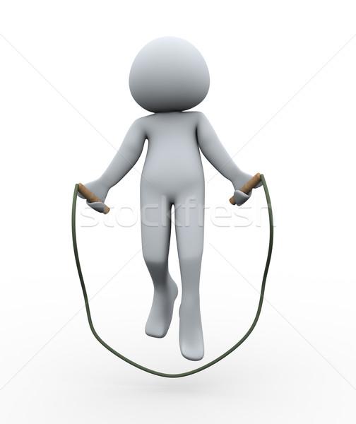 Stock fotó: 3d · személy · ugrik · kötél · 3d · illusztráció · férfi · 3D