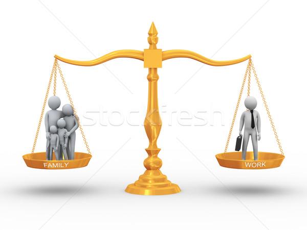баланса семьи работу 3d иллюстрации рабочих человека Сток-фото © ribah
