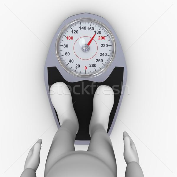 3d man feet on bathroom weight scale Stock photo © ribah