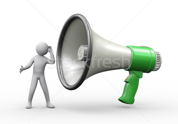 3d person listening to big megaphone Stock photo © ribah