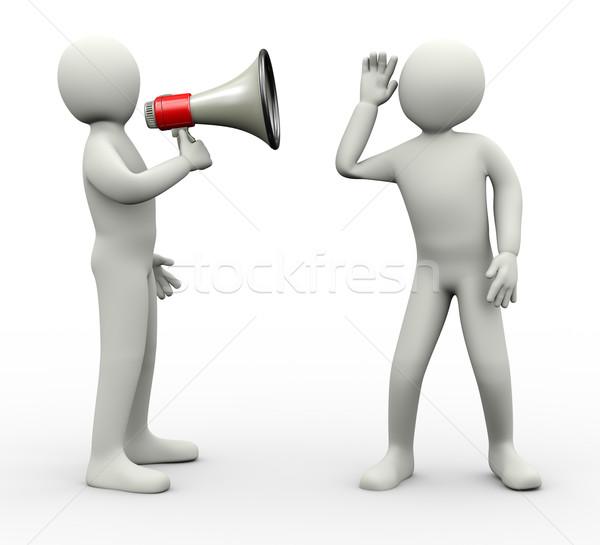 Zdjęcia stock: Mężczyzna · 3d · słuchania · megafon · wiadomości · zapowiedź · 3d · ilustracji