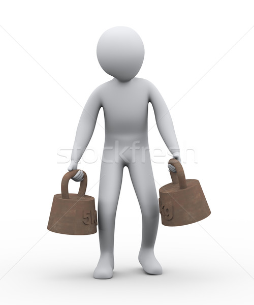 3d man carrying old weight Stock photo © ribah