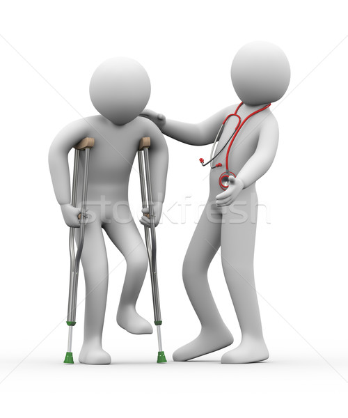 3d doctor helping a person on crutches Stock photo © ribah