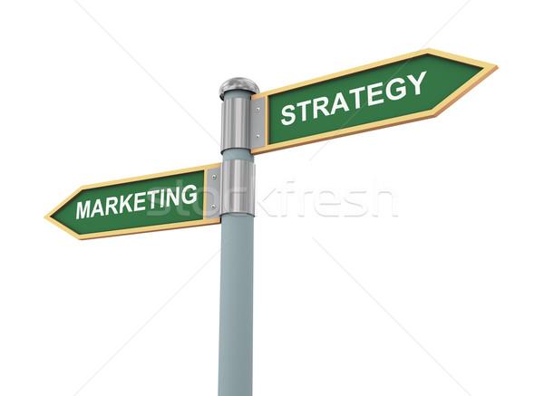 Strategia marketingowa znak drogowy 3d ilustracji słowa podpisania po Zdjęcia stock © ribah
