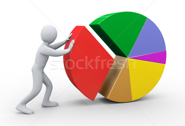 3d man completing pie chart Stock photo © ribah