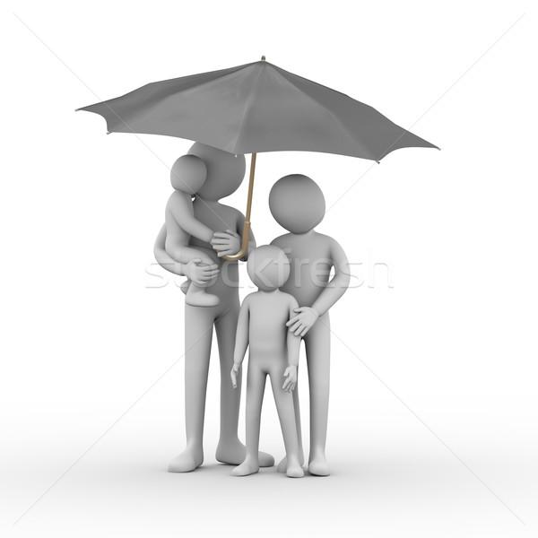 3d family under black umbrella Stock photo © ribah