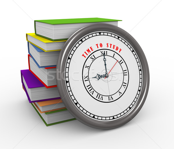 3d clock and books - time to study Stock photo © ribah