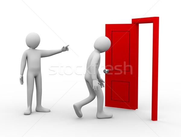 3d man dışarı 3d illustration kişi işaret açmak Stok fotoğraf © ribah