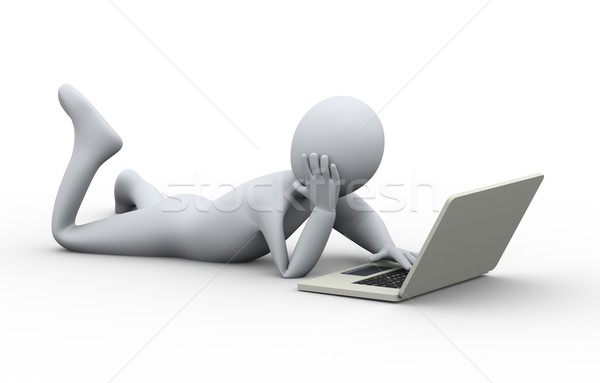 3d person easy laptop usage Stock photo © ribah