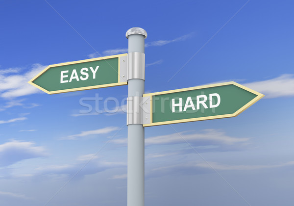 3d easy hard road sign Stock photo © ribah