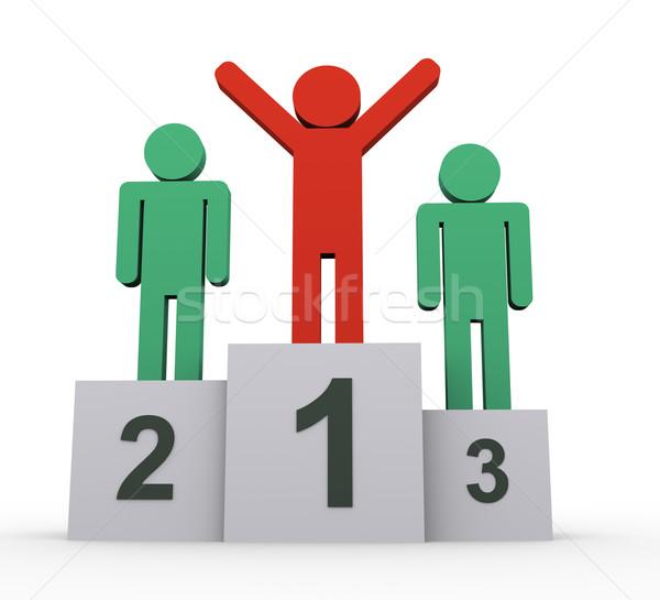Stock fotó: 3d · emberek · nyertesek · 3d · illusztráció · ünnepel · pódium · űr