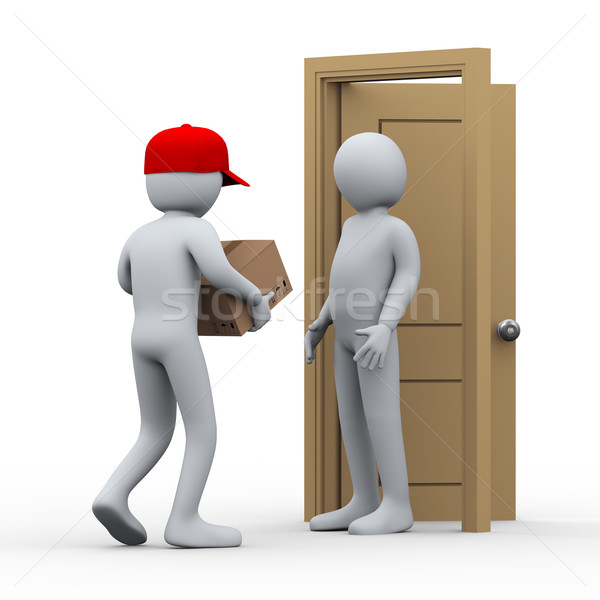 Stock photo: 3d man parcel home delivery