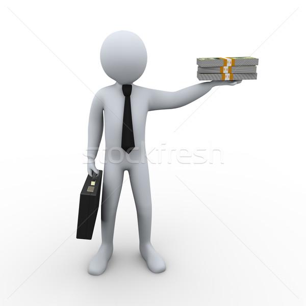 3d businessman and money Stock photo © ribah