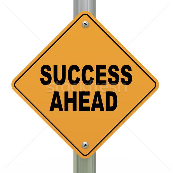 3d road sign success ahead Stock photo © ribah