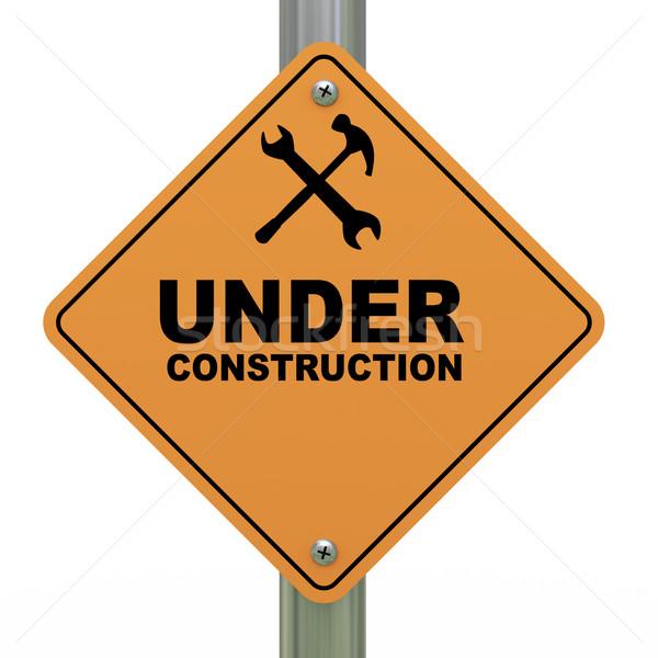 Under construction road sign Stock photo © ribah