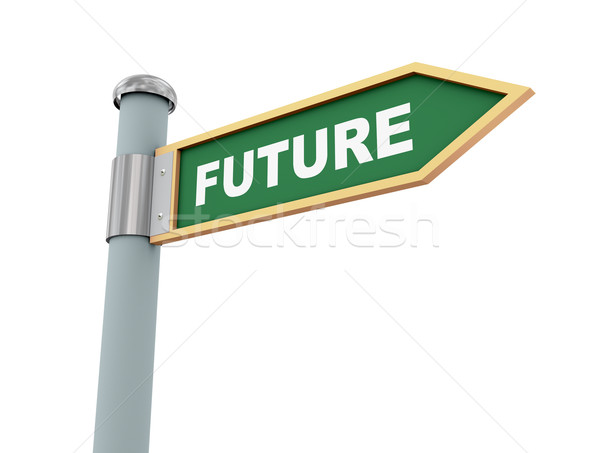 Jelzőtábla jövő 3d illusztráció jelzőtáblák szó üzlet Stock fotó © ribah