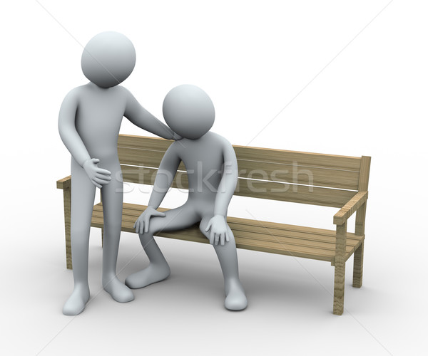3d man giving sympathy to his friend Stock photo © ribah