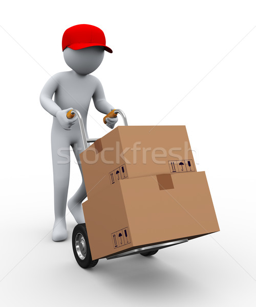 3d man hand truck boxes Stock photo © ribah
