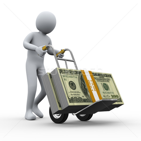 Stock photo: 3d man with money hand truck