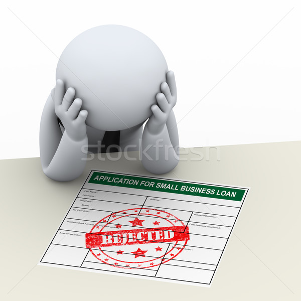 Stock photo: 3d upset business man after loan application rejection