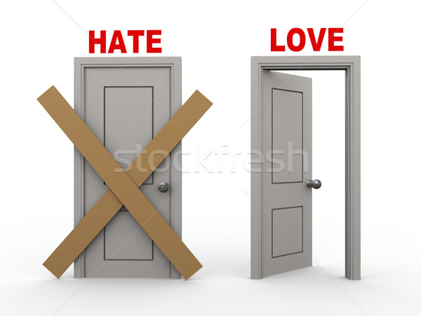 3D haine amour portes 3d illustration fermé Photo stock © ribah