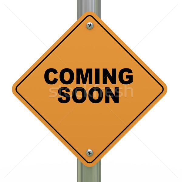 в ближайшее время дорожный знак 3d иллюстрации дорожный знак дороги будущем Сток-фото © ribah