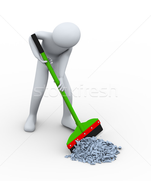 3d man cleaning trash with wiper Stock photo © ribah