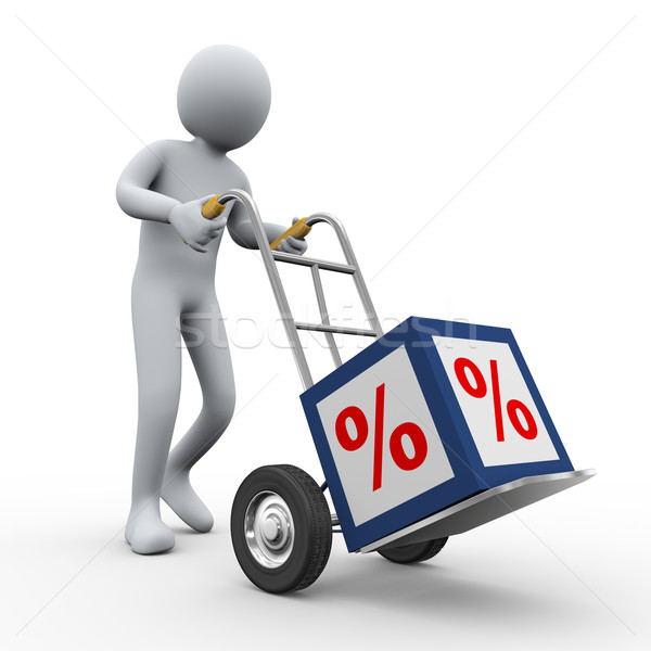 Stock photo: 3d man pushing percent cube trolley