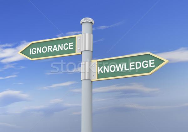 3D ignorância conhecimento placa sinalizadora ilustração 3d Foto stock © ribah