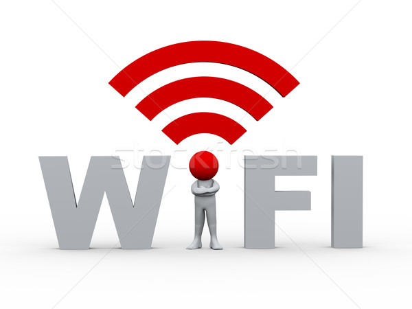 3d man wifi 3d illustration persoon icon hoofd Stockfoto © ribah