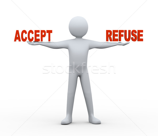 3d man - accept and refuse Stock photo © ribah