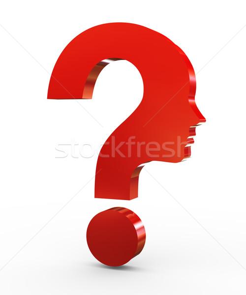 3d question mark face Stock photo © ribah