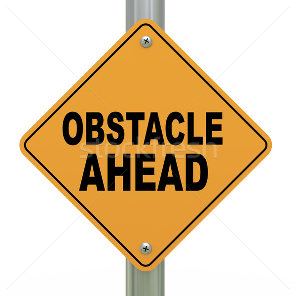3d road sign obstacle ahead Stock photo © ribah