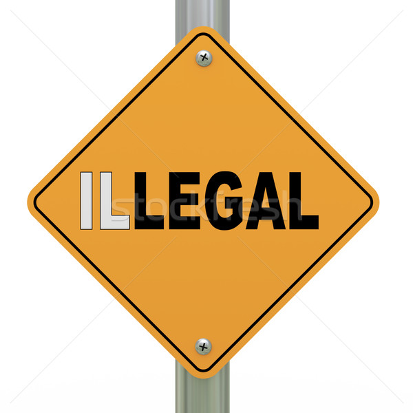 Stock photo: 3d road sign legal illegal
