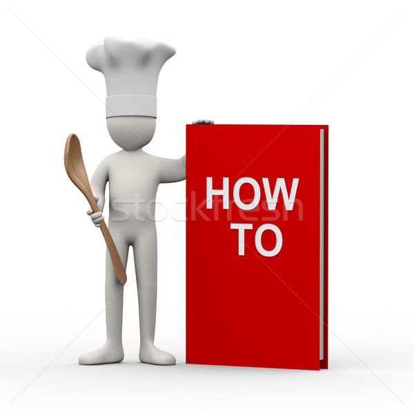 Zdjęcia stock: 3D · kucharz · książki · 3d · ilustracji · gotować · człowiek