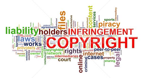Szerzői jog szófelhő illusztráció szó címkék internet Stock fotó © ribah
