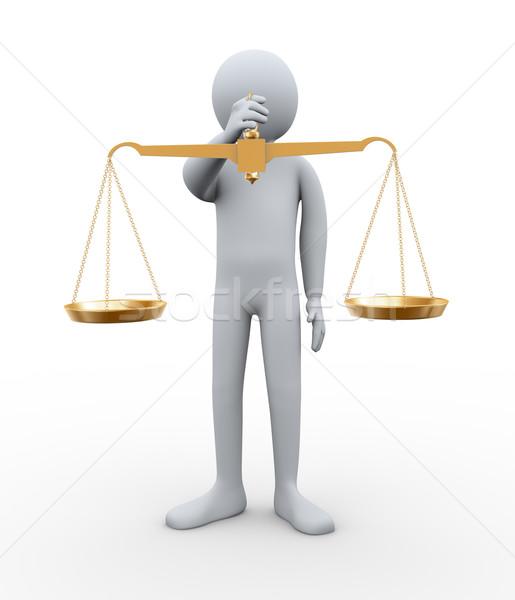 3d man evenwicht schaal 3d illustration persoon Stockfoto © ribah
