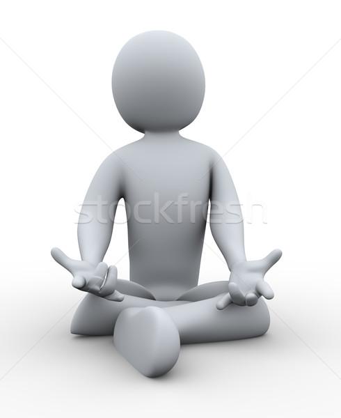Hombre 3d yoga 3d persona 3D Foto stock © ribah